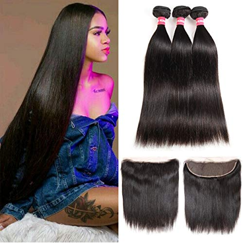LONG YAO Brazilian Straight Virgin Hair 3 Bundles with Frontal Closure 13×4 Ear to Ear Lace Frontal with Bundles 100% Virgin Human Hair Extensions Weave weft Natural Color (22 24 26 +20 Frontal)