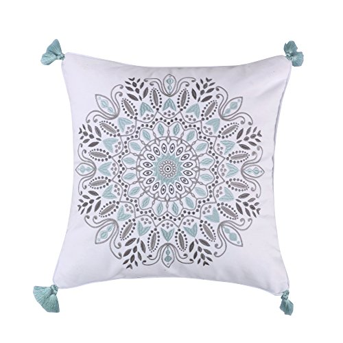 Levtex Ditsy Spa Embroidered Medallion Tassel Pillow, Grey/Spa