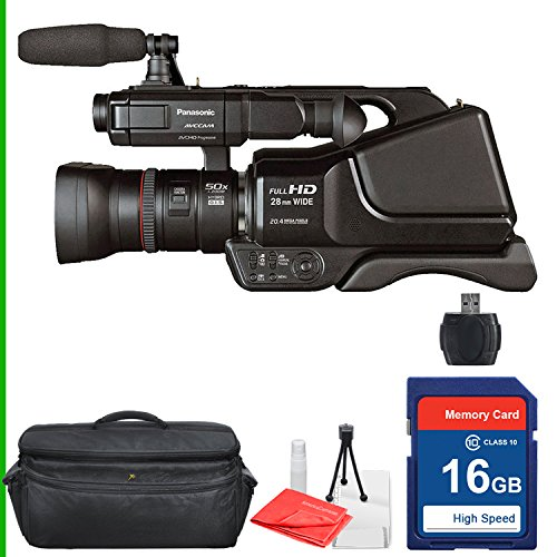 Panasonic AG-AC8PJ AVCCAM Camcorder 16GB SD Class 10 Memory Card, Professional Camcorder Case, Memory reader, Table Top Tripod, Lens Cleaning Kit and Screen Protector by Panasonic