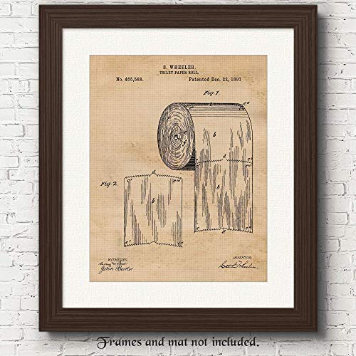 Vintage Toilet Paper Patent Poster Prints, Set of 1 (11×14) Unframed Photo, Wall Art Decor Gifts Under 15 for Home, Man Cave, Bathroom, Garage, Office, Studio, Bar, College Student, Teacher, Fan