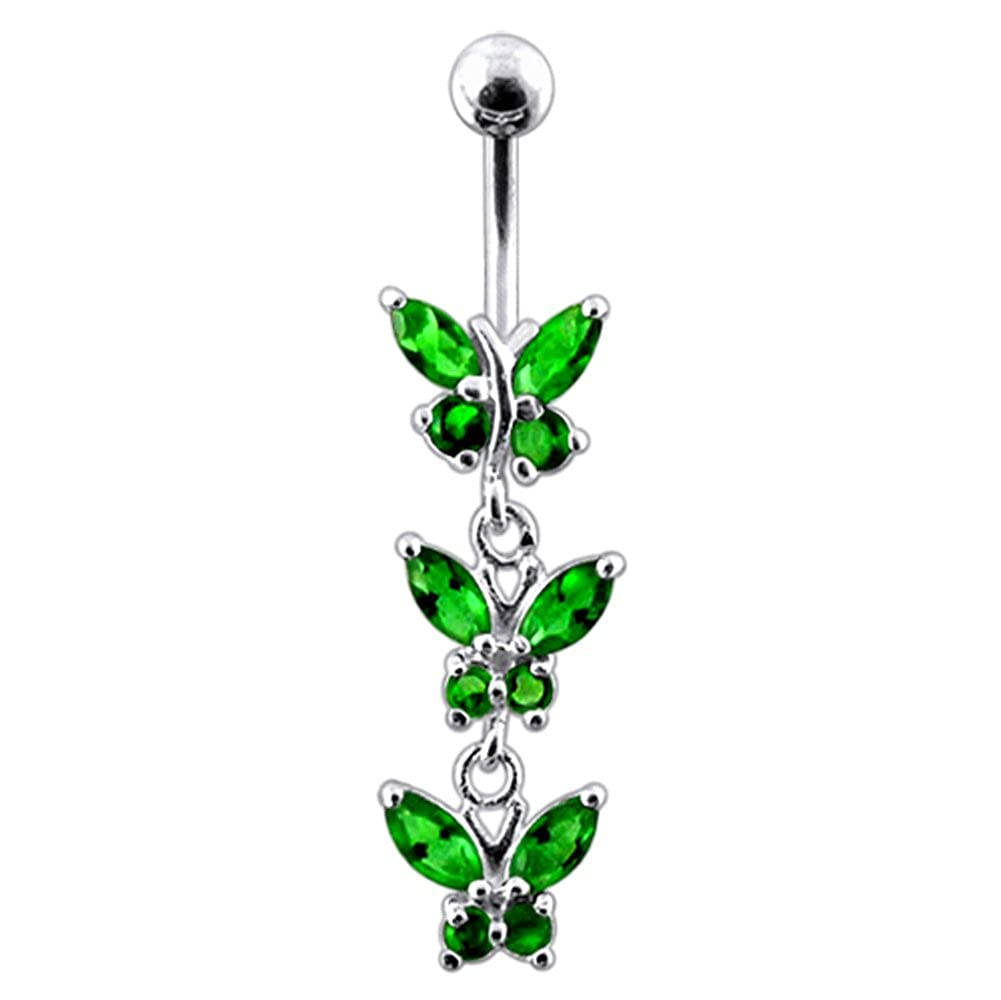 AtoZ Piercing Fancy Triple Butterfly Dangling 925 Sterling Silver with Stainless Steel Belly Button Rings