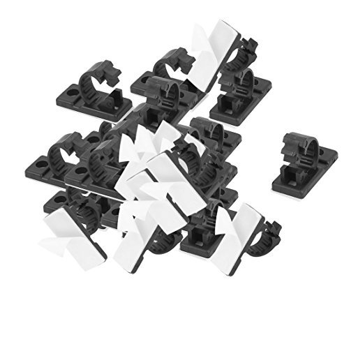 eDealMax 13mmx29mm Blanca de Nylon adhesiva del Cable de alambre Ajustable 50Pcs Clip