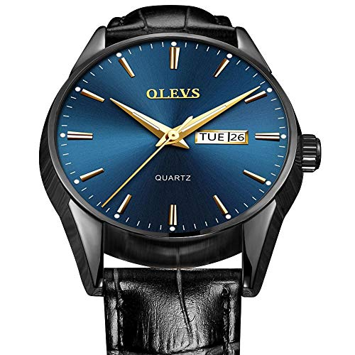 Blue Leather Watch Face Band - Mens Watches Leather Band,Blue Face Mens Watch,Day and Date Watches for Men,Mens Business Casual Watch with Calendar,Classic Luminous Dial Watches Men Wrist Watches with Black eather