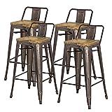 New Pacific Direct Metropolis Metal Low Back Bar Stool 30″ Wood Seat,Gunmetal Gray,Set of 4 Review