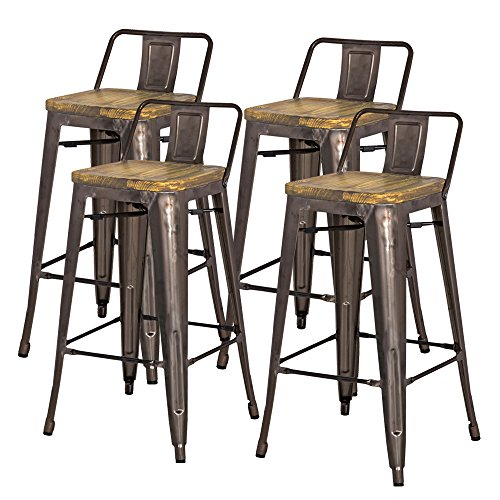 New Pacific Direct Metropolis Metal Low Back Bar Stool 30