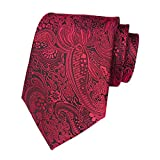 Secdtie Men's Red Black Jacquard Woven Silk Tie Prom Dance Formal Necktie YUE016