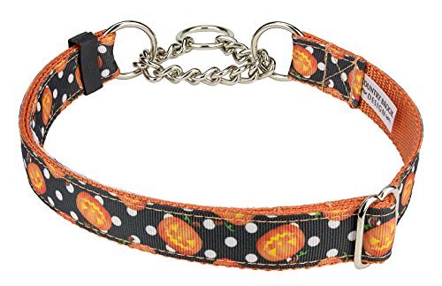Country Brook Design Moonlight Grin Ribbon Half Check Dog Collar - Extra Large
