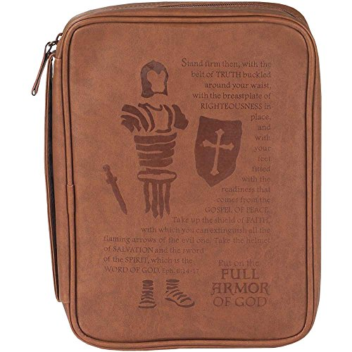 Armor of God Brown 8 x 11 inch Leather Like Vinyl Bible Cover Case with Handle Large by Dicksons