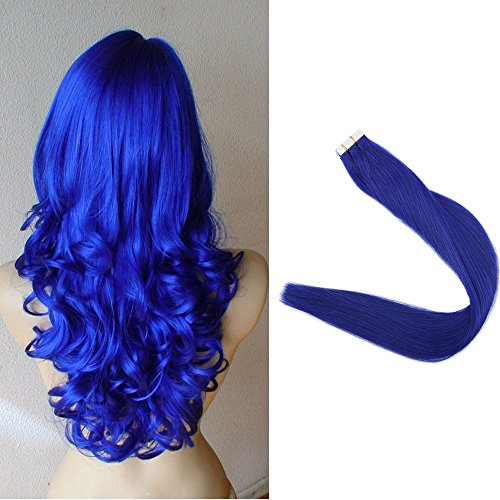 (Full Shine 22 inch Blue Color 20 Pcs 50g Per Set Pu Tape in 100% Remy Human Hair Extensions Tape in Hair Extensions)