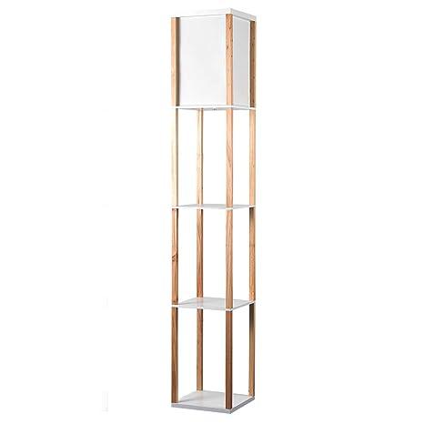 Modern Oak Wooden White Fabric Floor Lamp With Built In Shelving