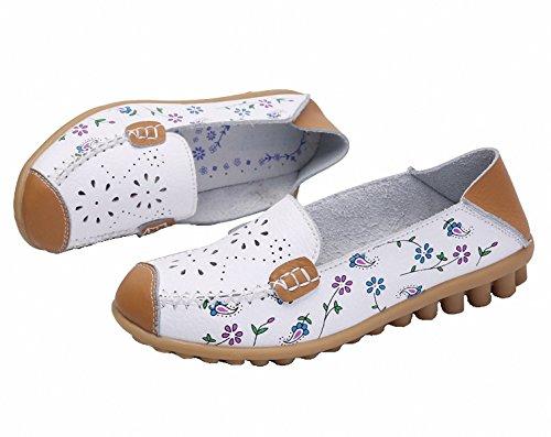 Scarpe Mocassini, Mocassini Da Donna In Vera Pelle Pantofole Slip-on Piatte Stampate Scarpe Da Guida Cave Bianche