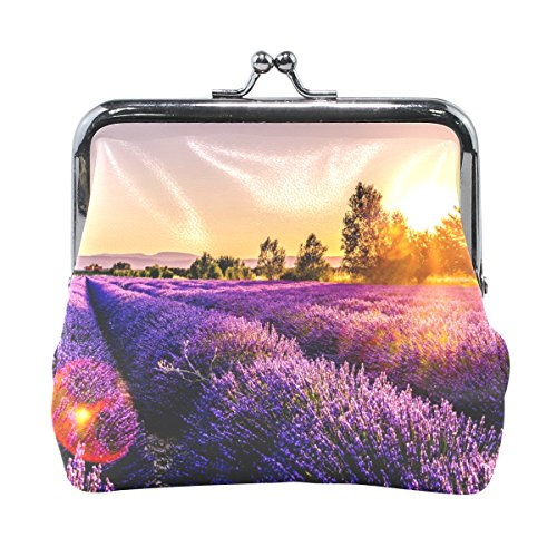Ethel Ernest Sunset Over Lavender Field Coin Wallets Mini Purse for Womens Girls