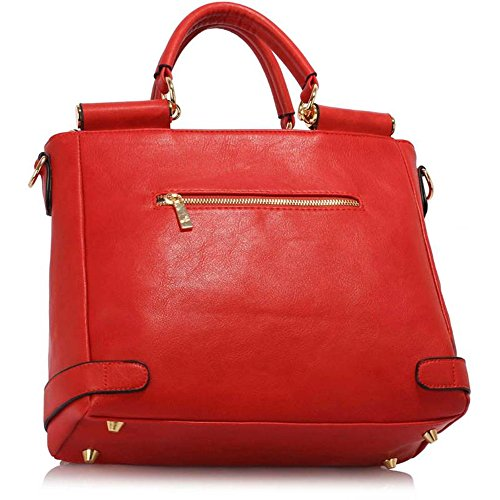 Satchels Lock Large Meeting LeahWard Size Tote Top Office Business Clearance Handbags Leather Faux 237 Flap Sale Grab Handle Twist Red v0wa4rdaq