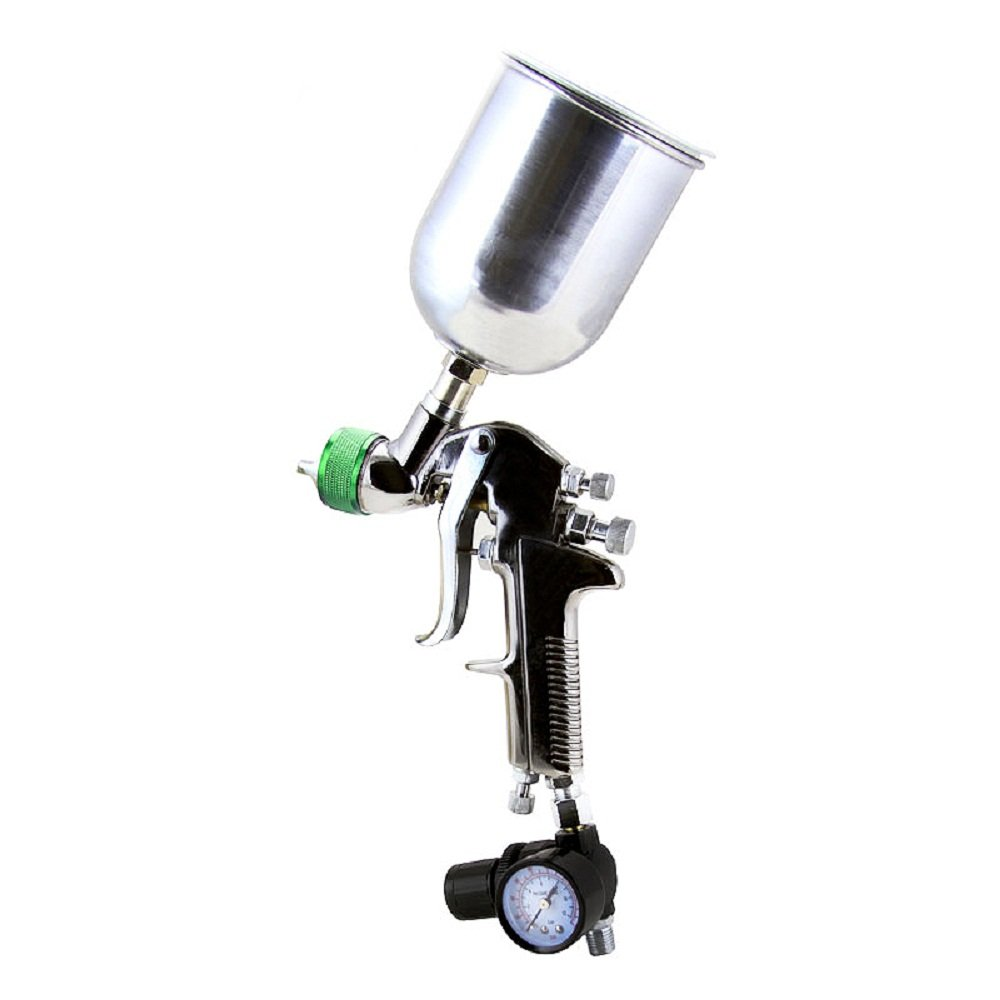 1.5Mm Hvlp Gravity Feed Spray Gun Air Painting Clear Coat Compressor W Regulator