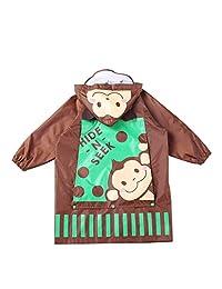 Vine Kids Waterproof Raincoat Poncho Portable Rainsuit with Backpack Position