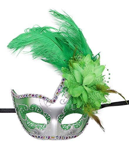 Women's Feather Masquerade Mask Venetian Halloween Mardi Gras Costumes Party Ball Prom Mask (ZA Silver Green)