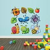 Full Color Wall Decals Vinyl Sticker Decor Art Bedroom Design Mural Kids Nursery Cartoon Bee Honeybee Bugs Snail Foliage Set (Col128)