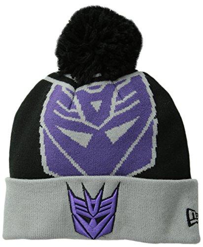 New Era Cap Men's Decepticons Logo Whiz Pom Knit Beanie, Black/Grey, One Size