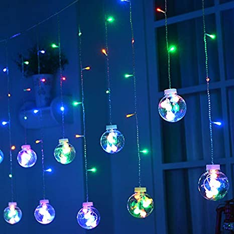 Pindia Ball Led Curtain String Decorative Lights For Home Decor Diwali Dussehra Christmas Multicolor Rgb