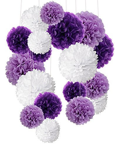 Tissue Paper Pom Poms, Recosis Paper Flower Ball for Birthday Party Wedding Baby Shower Bridal Shower Festival Decorations, 18 Pcs - Purple, Lavender and White]()