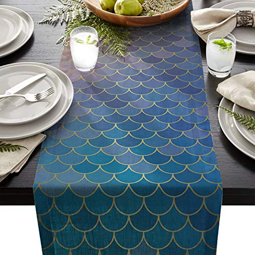 HELLOWINK Cotton Linen Burlap Table Runners 90inch Wedding Party Holiday Dinner Home Decor (Fish Mermaid Glitter Ocean Ombre Orange Teal, Rectangle)