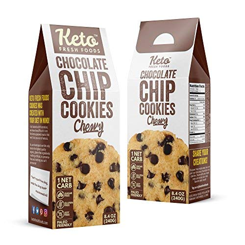 Keto Fresh Foods Chocolate Chip Cookies Features: 1 NET Carb | Sugar Free | Gluten Free | Made with Organic & Natural Ingredients | Paleo & Grandma Approved (12 Cookies)