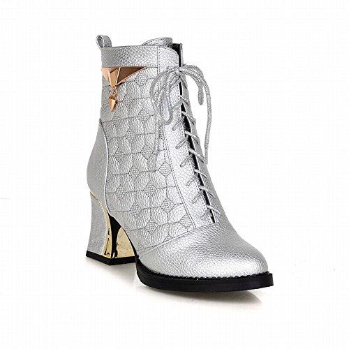 Ciondoli Moda Donna Carolbar Stringate Simpatici Stivali Eleganti Tacco Alto Argento