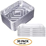 """7.5"""" x 5"""" Foil Drip Pans w/Plastic Covers (30-Pack) Weber Grill Compatible- Aluminum Containers with Lids- Bulk Grease Replacement Liner Trays- BBQ Grill Pans- Oven and Refrigerator Safe- Disposable"""