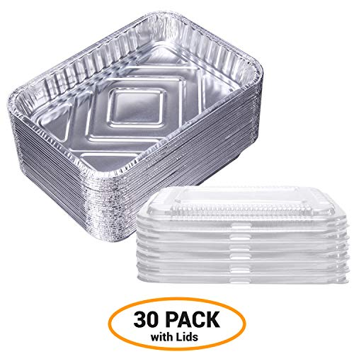 7.5 in x 5 in Foil Drip Pans w/ Plastic Covers 30 Pack Weber Grill Compatible- Aluminum Containers with Lids-Bulk Grease Replacement Liner Trays BBQ Grill Pans And Oven Refrigerator Safe