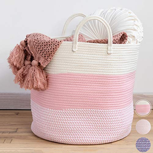 XXL Premium Cotton Rope Basket 18″x18″x16″ – Big Basket for Blankets Living Room – Woven Laundry Basket- Pink Basket – Large Blanket Basket Living Room – Storage Basket – Large Baskets for Blankets