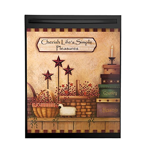 Primitive Country Charm Dishwasher Magnet Cover, Brown (Decorative Door Magnet)