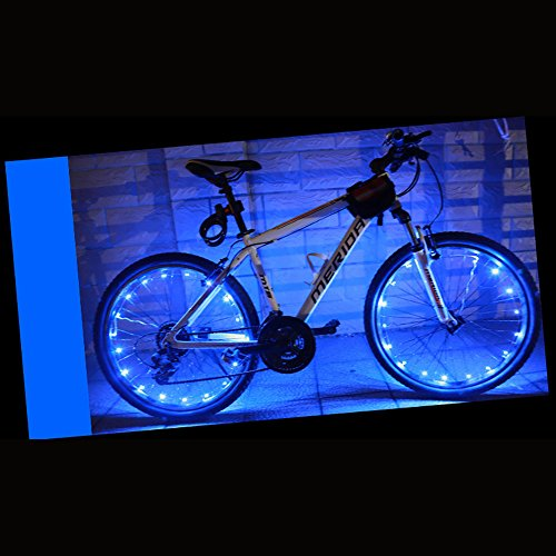 Caloics Super Cool LED Bike Wheel Lights for 100% Brighter Bicycle Spokes Rims & Tires - Best for Safety Fun & Style BATTERIES INCLUDED Perfect Birthday Gifts Fast Easy Install Guaranteed (Blue)