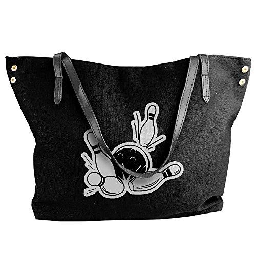 Strike Bowling Hobo Tote Handbag Large Handbag Canvas Tote Bag Black Shoulder Women's wUF7Ynf