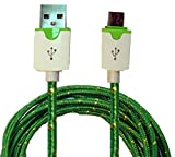 CablesFrLess 10ft Braided High Quality Durable Micro B USB Charging / Data Sync Cable fits Android Phones and Tablets (Forest Green)