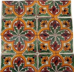 16 Hand Painted Talavera Mexican Tiles (16 Hand Painted Ceramic Tiles)