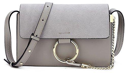 QZUnique Women's Cowhide Genuine Split Leather Fashion Vintage Style Cross Body Shoulder Bag Dark (Chole Bag)