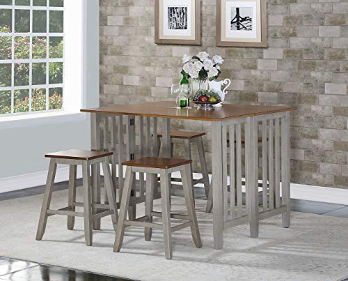 Mission Oak Oak Pub Table - Mollai Collection Grey 5Pc Counter-Height Table 4 Stools