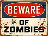 Beware Of Zombies Parking Sign Metal Sign from Redeye Laserworks