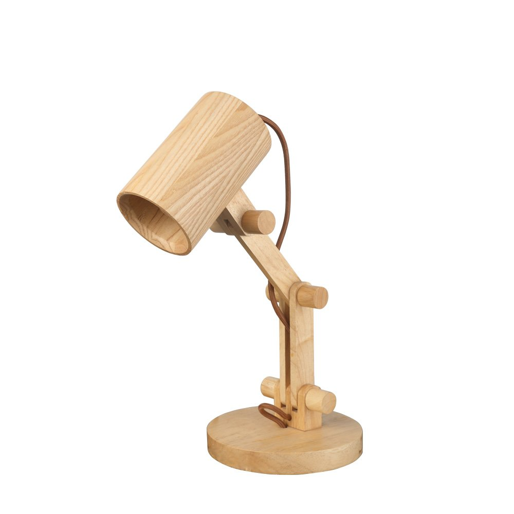 Starthi Swing Arm Desk Lamp Natural Wood Table Lamp