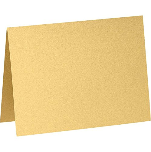 A2 Folded Notecards (4 1/4 x 5 1/2) - Gold Metallic (250 Qty.) by Envelopes.com