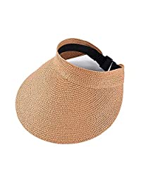 Jiuhexuj Women's Summer Packable Wide Brim Roll-Up Sun Visor Beach Straw Hat