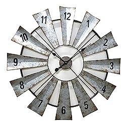 Bracket Clock,24 Inch European Pastoral Farm Style Windmill Galvanized Sheet Wrought Iron Metal Skeleton Vintage Wall Clock,60460cm