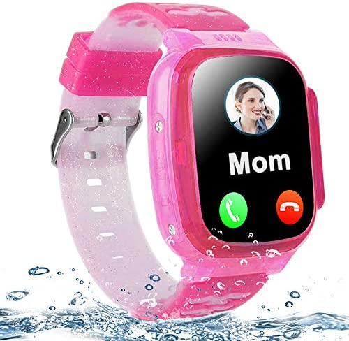 MiKin Kids Smart Watch Waterproof GPS Tracker Phone Watch for Boys Girls Age 4-12, 1.44 Touch Screen Gizmo Smart Watches with 2 Way Call SOS Math Game Camera Alarm Clock Flashlight