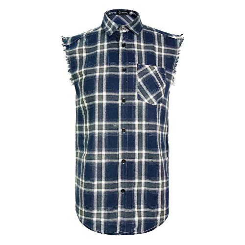 MCULIVOD Sleeveless Plaid Snap-Front Shirt for Men, Cowboy Button Down Shitrs Navy Blue,X-Large