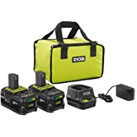2-Pack Ryobi 18-Volt 4.0 Ah Battery Starter Kit with Charger and Bag + Ryobi 18-Volt ONE+ Cordless Reciprocating Saw (Tool-Only)