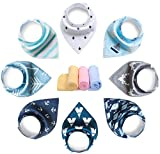 YOOFOSS Baby Bandana Drool Bibs 8 Pack Gift Set for Teething and Drooling, 100% Organic Cotton, Soft and Absorbent(Boys)