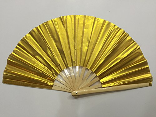 Plain Gold Bamboo Kung Fu Tai Chi Training Fan USA Seller