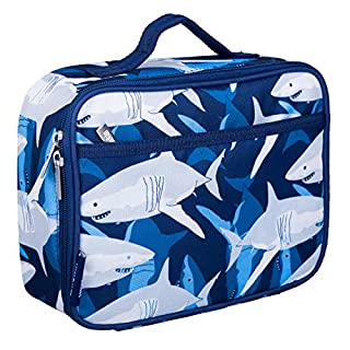 Wildkin Kids Insulated Lunch Box Bag for Boys and Girls, Perfect Size for Packing Hot or Cold Snacks for School and Travel, Mom's Choice Award Winner, BPA-free, Olive Kids (Sharks)