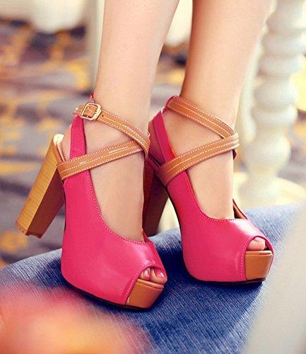 Easemax Donna Sexy Peep Toe Low Cut Cinturino Alla Caviglia Fibbia Sandalo Grosso Tacco Alto Rosso