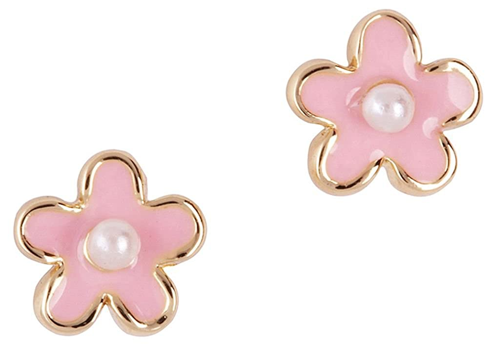 Girl Nation Little Treasures Collection Enamel Elegant Flower Post Earrings with Faux Pearl Accent